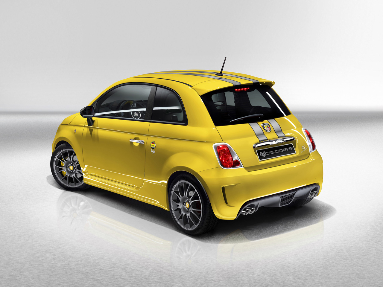 2011 Abarth 695 Tributo Ferrari Yellow Rear And Side Abarth 695 Tributo Ferrari