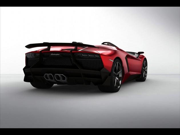 2012 Lamborghini Aventador J Studio Rear Angle 630x472 2012 Lamborghini Aventador J Studio Rear Angle