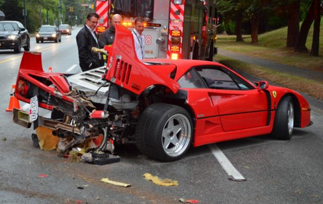 Ferrari F40 Manobras de estacionamento responsáveis por 40 por cento dos acidentes