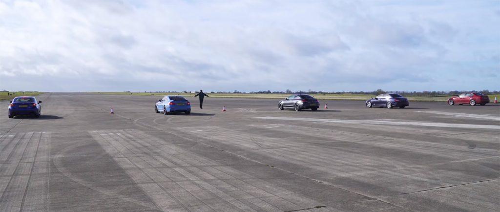 drag 1 1024x434 BMW M4 vs AMG C63 S vs Lexus RC F vs BMW M3 E90 vs Mercedes C63 AMG W204   Novos contra os seus antecessores e um Japonês forasteiro