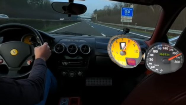 f430 628x356 Ferrari F430 a fundo numa auto estrada alemã