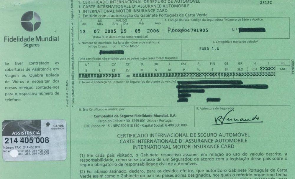 4 CARTA VERDE e1501691067922 Alteração de cor na carta verde do seguro automóvel