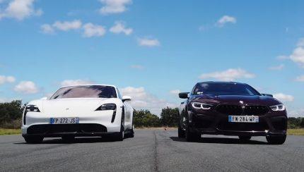 bmw m8 taycan 430x244 Porsche Taycan Turbo S arrasa BMW M8 em aceleração